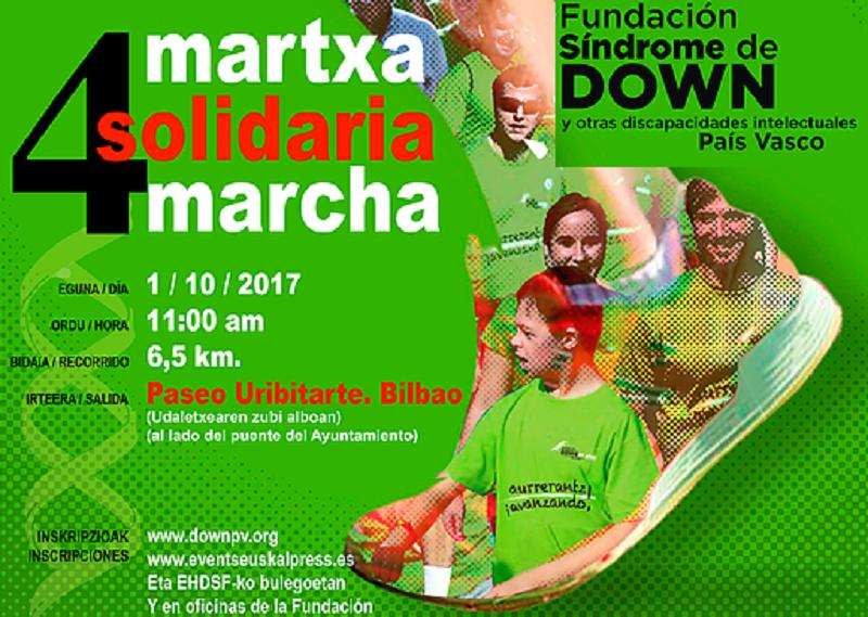 La Fundación Síndrome de Down del País Vasco celebrará el próximo 1 de octubre su IV Marcha Solidaria en Bilbao