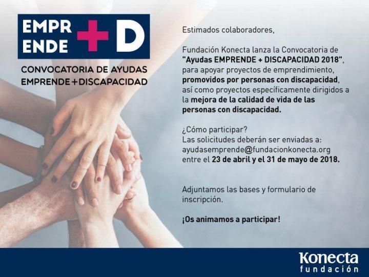 """Fundación Konecta convoca las ayudas """"Emprende + Discapacidad 2018"""""""