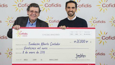 Cofidis dona 25.000 euros a la Fundación Alberto Contador gracias al Pedalón Solidario