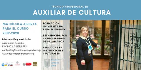 Abierta la matrícula para formación «Técnico profesional en auxiliar de cultura», de Argadini