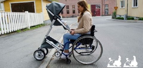 Cursum, Cochecito de bebé para padres en silla de ruedas